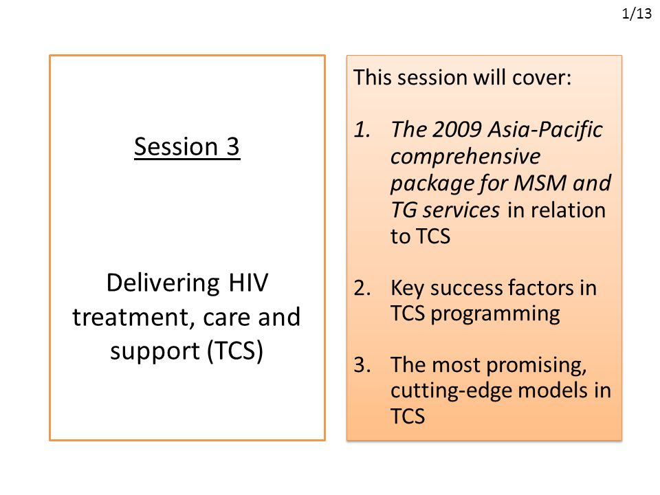 Session 3 Delivering HIV treatment, care and support (TCS) This session will cover: 1.The 2009 Asia-Pacific comprehensive package for MSM and TG services in relation to TCS 2.Key success factors in TCS programming 3.The most promising, cutting-edge models in TCS This session will cover: 1.The 2009 Asia-Pacific comprehensive package for MSM and TG services in relation to TCS 2.Key success factors in TCS programming 3.The most promising, cutting-edge models in TCS 1/13