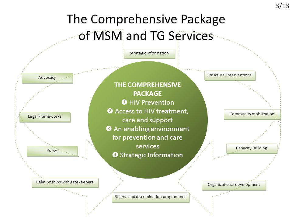 The Comprehensive Package of MSM and TG Services Strategic Information Advocacy Legal Frameworks Policy Relationships with gatekeepers Stigma and discrimination programmes Organizational development Capacity Building Community mobilization Structural Interventions THE COMPREHENSIVE PACKAGE  HIV Prevention  Access to HIV treatment, care and support  An enabling environment for prevention and care services  Strategic Information 3/13