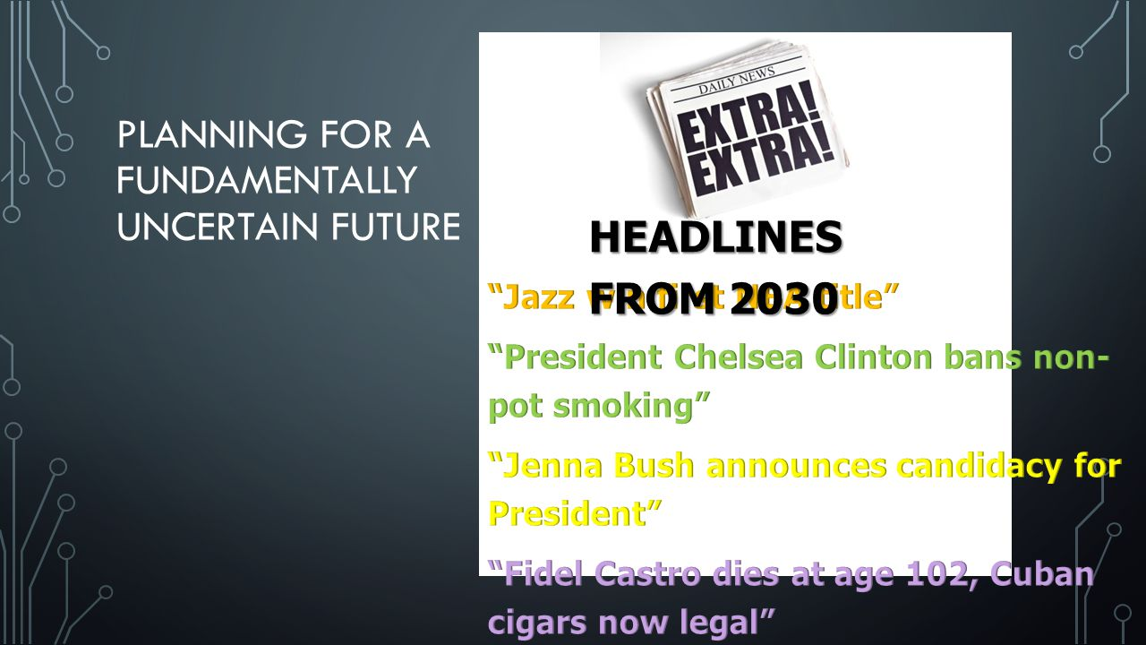PLANNING FOR A FUNDAMENTALLY UNCERTAIN FUTURE HEADLINES FROM 2030