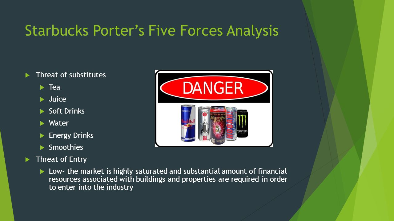 Starbucks Porter's Five Forces Analysis  Threat of substitutes  Tea  Juice  Soft Drinks  Water  Energy Drinks  Smoothies  Threat of Entry  Low- the market is highly saturated and substantial amount of financial resources associated with buildings and properties are required in order to enter into the industry