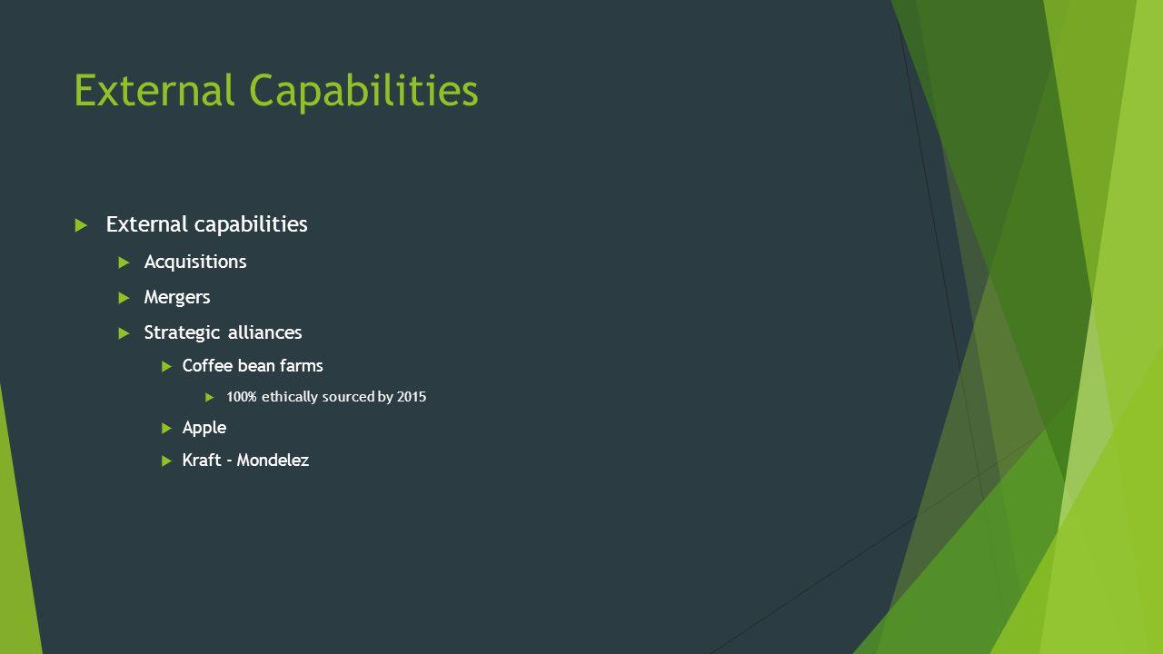 External Capabilities  External capabilities  Acquisitions  Mergers  Strategic alliances  Coffee bean farms  100% ethically sourced by 2015  Apple  Kraft - Mondelez