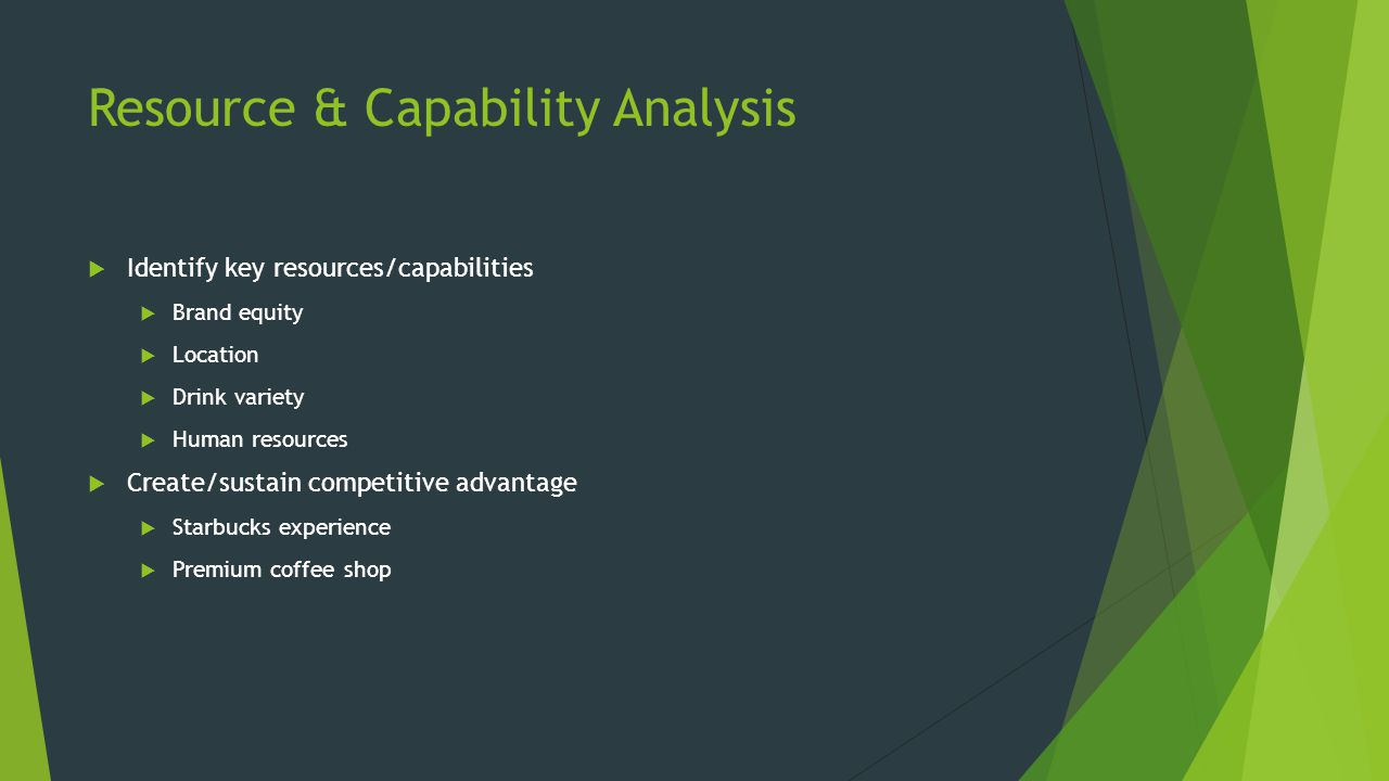 Resource & Capability Analysis  Identify key resources/capabilities  Brand equity  Location  Drink variety  Human resources  Create/sustain competitive advantage  Starbucks experience  Premium coffee shop