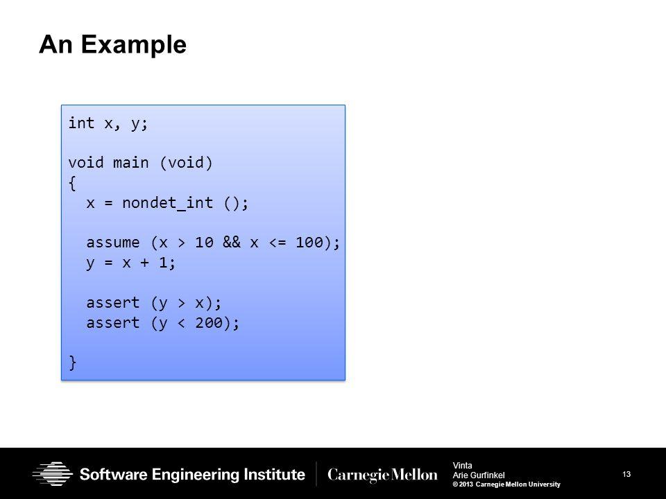 13 Vinta Arie Gurfinkel © 2013 Carnegie Mellon University An Example int x, y; void main (void) { x = nondet_int (); assume (x > 10 && x <= 100); y = x + 1; assert (y > x); assert (y < 200); } int x, y; void main (void) { x = nondet_int (); assume (x > 10 && x <= 100); y = x + 1; assert (y > x); assert (y < 200); }