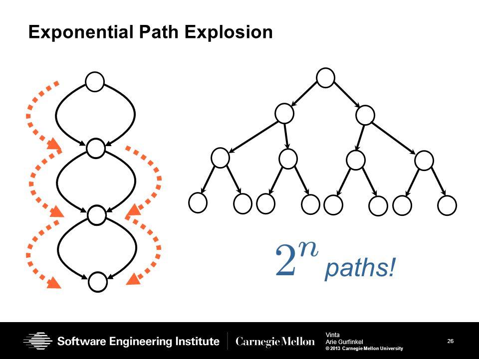 26 Vinta Arie Gurfinkel © 2013 Carnegie Mellon University Exponential Path Explosion paths!