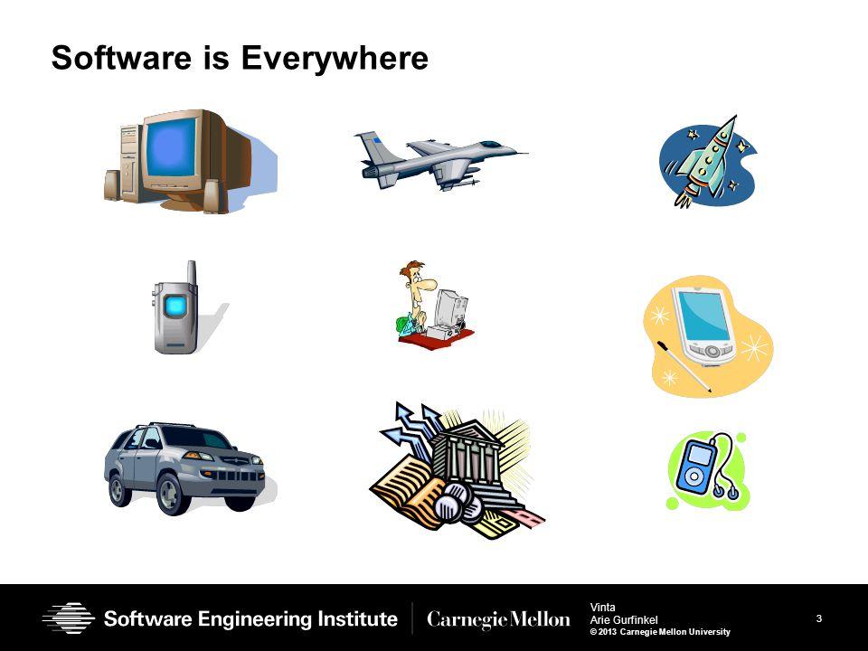 3 Vinta Arie Gurfinkel © 2013 Carnegie Mellon University Software is Everywhere