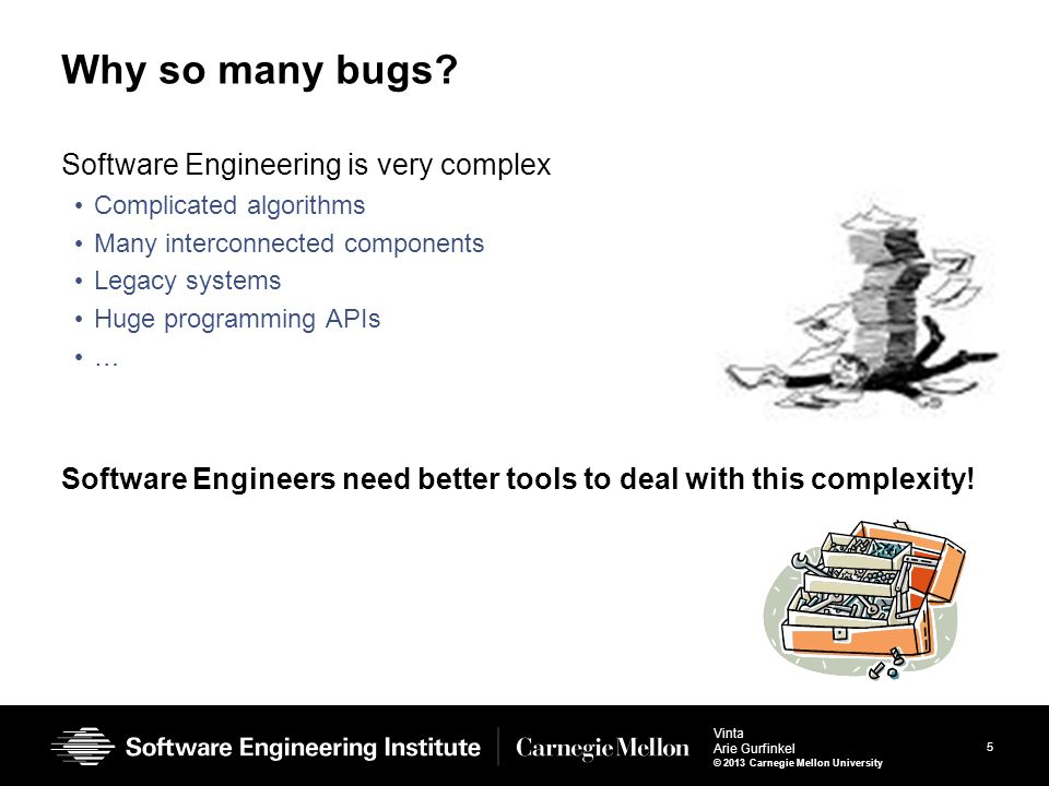5 Vinta Arie Gurfinkel © 2013 Carnegie Mellon University Software Engineering is very complex Complicated algorithms Many interconnected components Legacy systems Huge programming APIs … Software Engineers need better tools to deal with this complexity.
