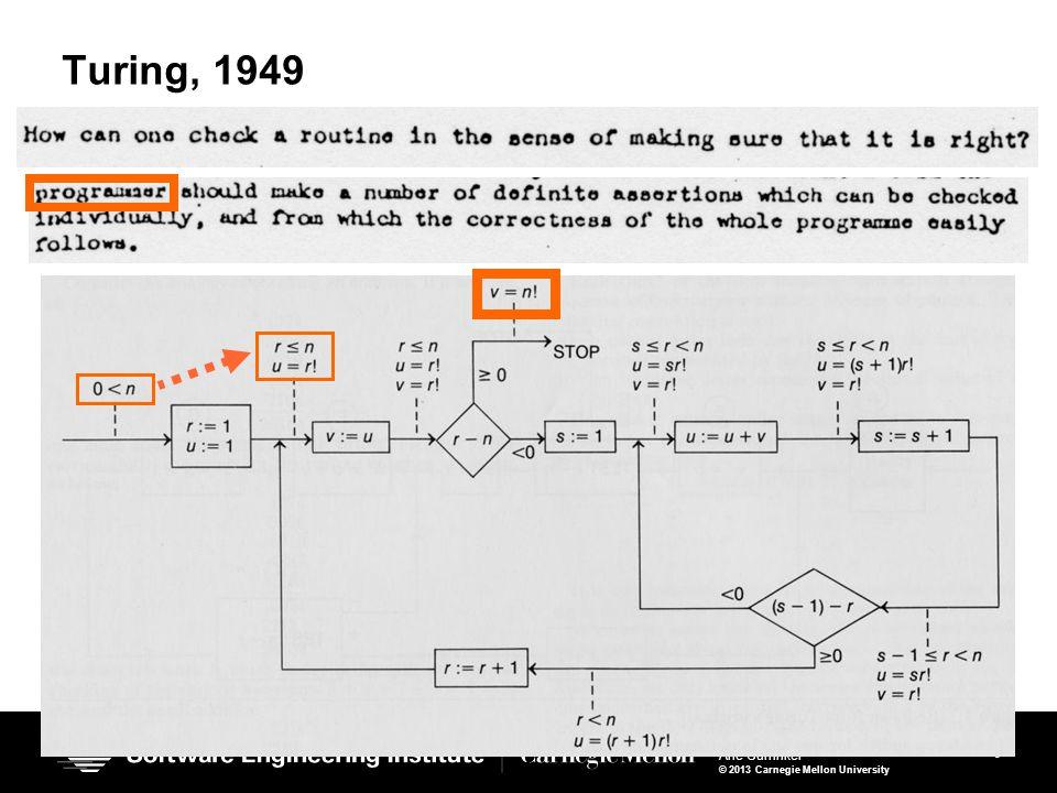 9 Vinta Arie Gurfinkel © 2013 Carnegie Mellon University 9 Turing, 1949