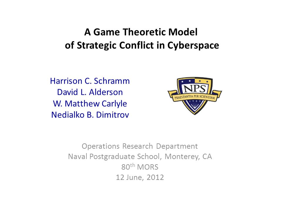 Cyber Conflict - definitions Defining characteristic: how weapons in cyberspace (cyber weapons) are discovered, developed, and employed Our model is a high-level, strategic look at the problem of Cyber conflict Key question: How long should a belligerent in cyber conflict hold an exploit in development before attacking.