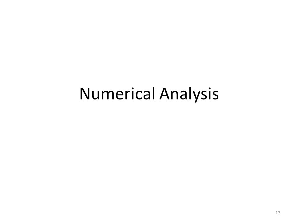 Numerical Analysis 17