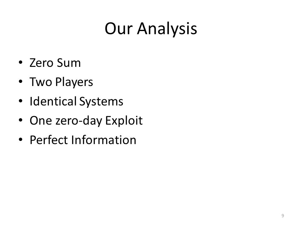 Our Analysis Zero Sum Two Players Identical Systems One zero-day Exploit Perfect Information 9
