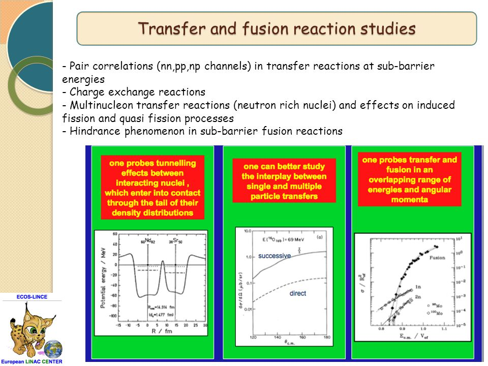 - Pair correlations (nn,pp,np channels) in transfer reactions at sub-barrier energies - Charge exchange reactions - Multinucleon transfer reactions (n