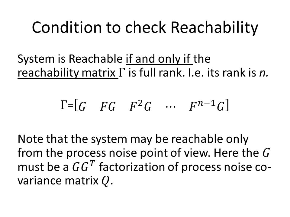 Condition to check Reachability