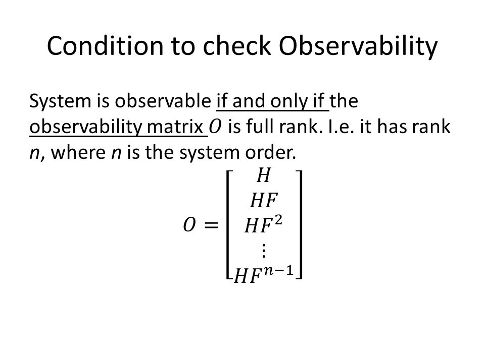 Condition to check Observability