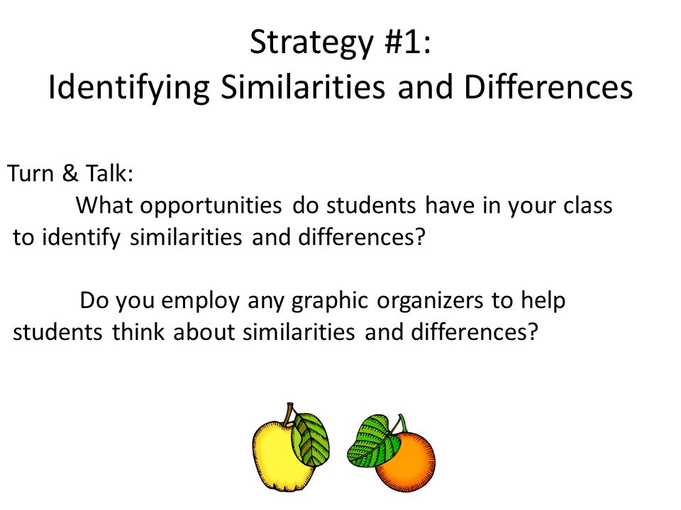 Strategy #1: Identifying Similarities and Differences Turn & Talk: What opportunities do students have in your class to identify similarities and differences.