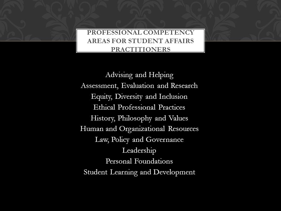 Advising and Helping Assessment, Evaluation and Research Equity, Diversity and Inclusion Ethical Professional Practices History, Philosophy and Values Human and Organizational Resources Law, Policy and Governance Leadership Personal Foundations Student Learning and Development PROFESSIONAL COMPETENCY AREAS FOR STUDENT AFFAIRS PRACTITIONERS
