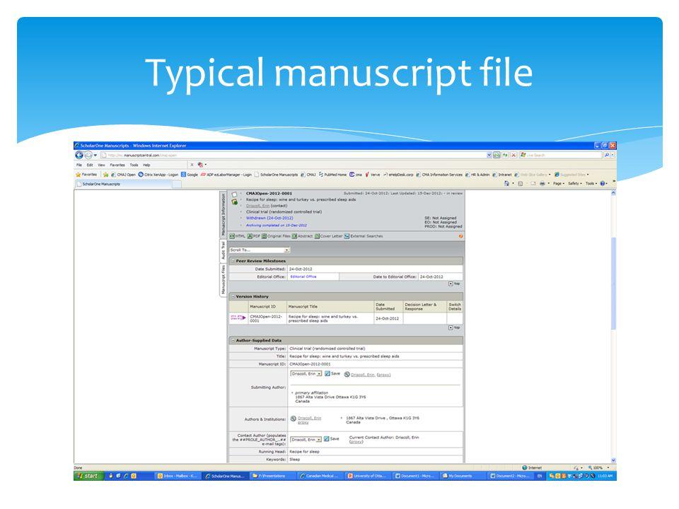 Typical manuscript file