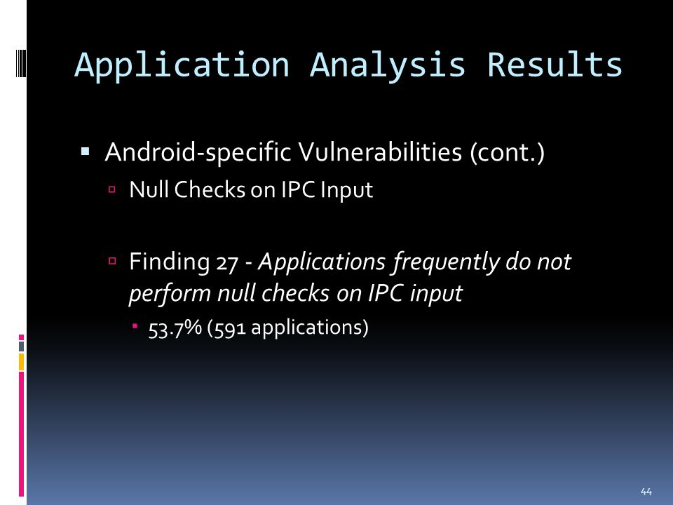 Application Analysis Results  Android-specific Vulnerabilities (cont.)  Null Checks on IPC Input  Finding 27 - Applications frequently do not perform null checks on IPC input  53.7% (591 applications) 44