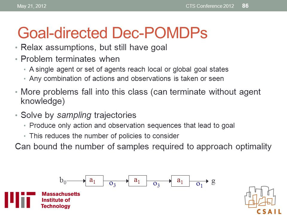 Goal-directed Dec-POMDPs Relax assumptions, but still have goal Problem terminates when A single agent or set of agents reach local or global goal sta