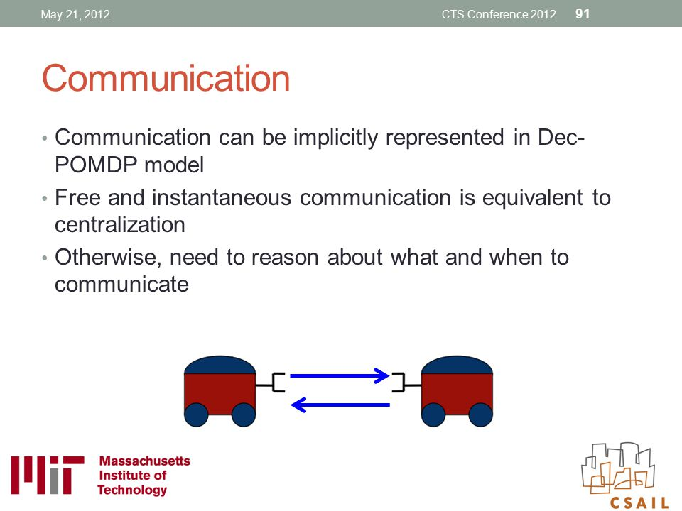 Communication Communication can be implicitly represented in Dec- POMDP model Free and instantaneous communication is equivalent to centralization Oth