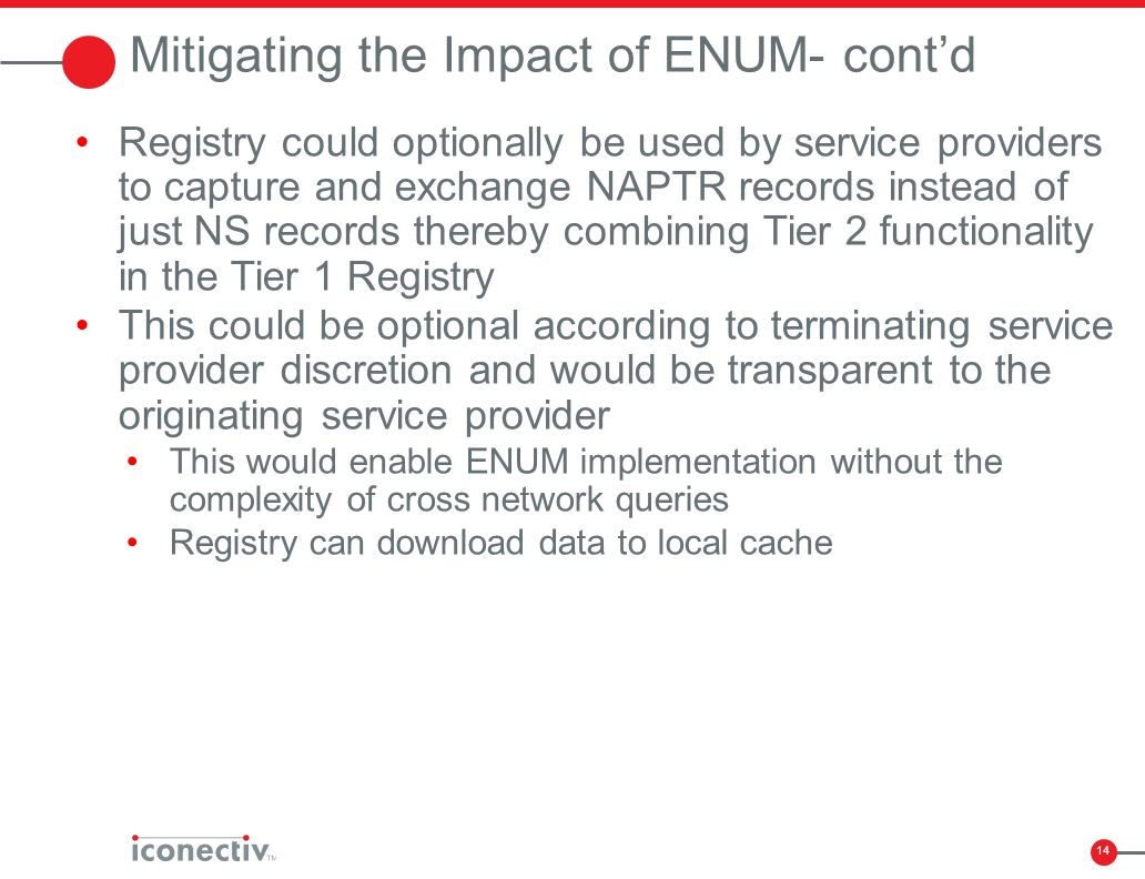 14 Mitigating the Impact of ENUM- cont'd Registry could optionally be used by service providers to capture and exchange NAPTR records instead of just