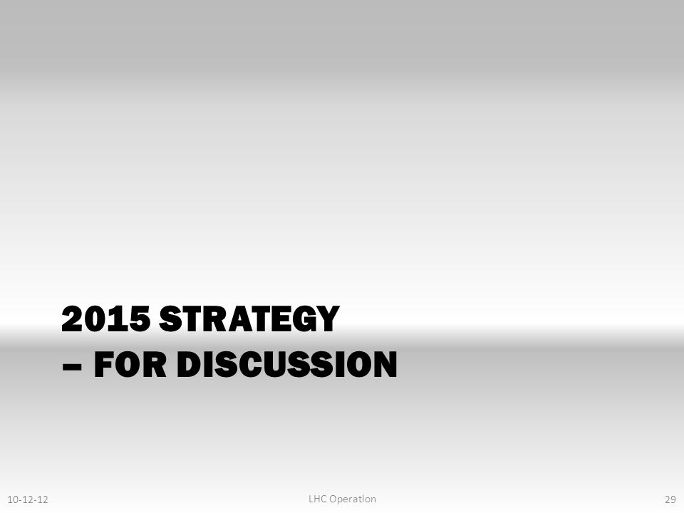2015 STRATEGY – FOR DISCUSSION 10-12-12 LHC Operation 29