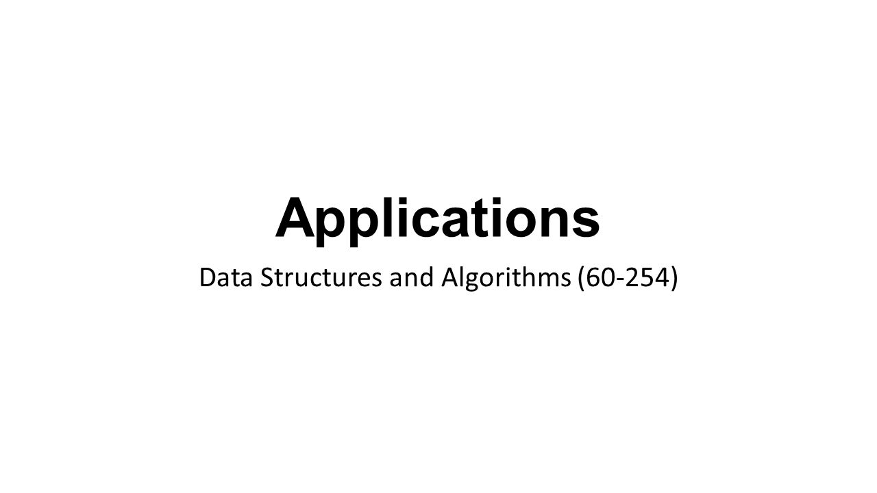 Applications Data Structures and Algorithms (60-254)