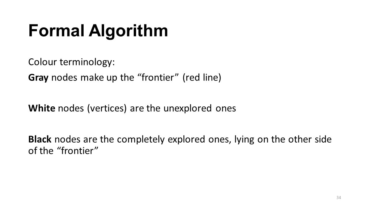 Formal Algorithm Colour terminology: Gray nodes make up the frontier (red line) White nodes (vertices) are the unexplored ones Black nodes are the completely explored ones, lying on the other side of the frontier 34