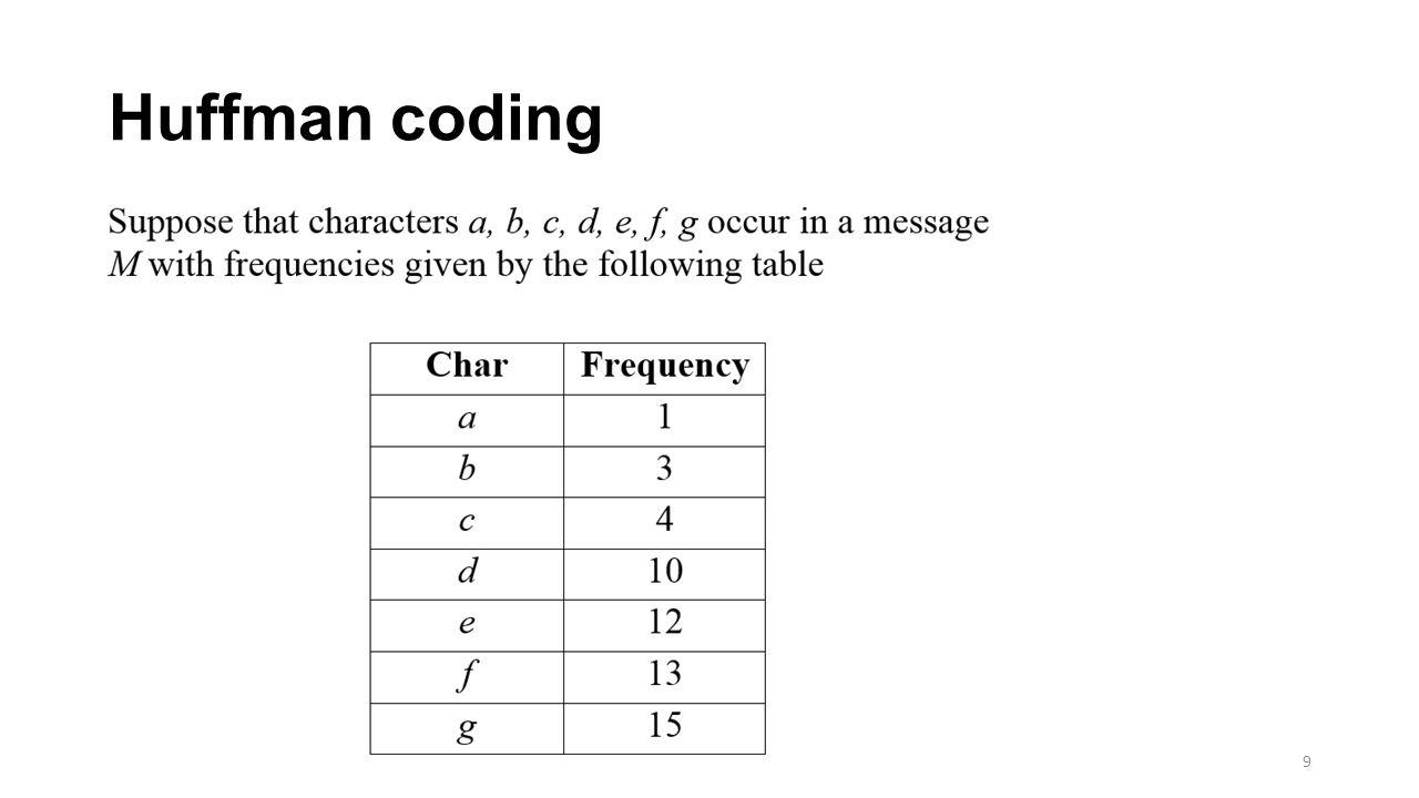 Huffman coding 9