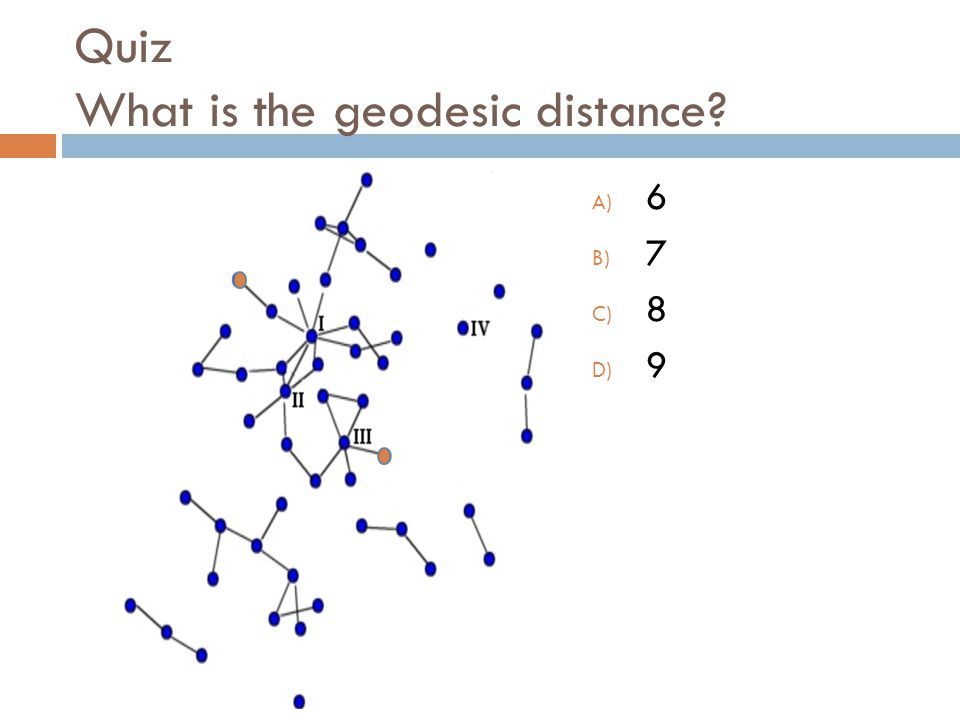 Quiz What is the geodesic distance A) 6 B) 7 C) 8 D) 9