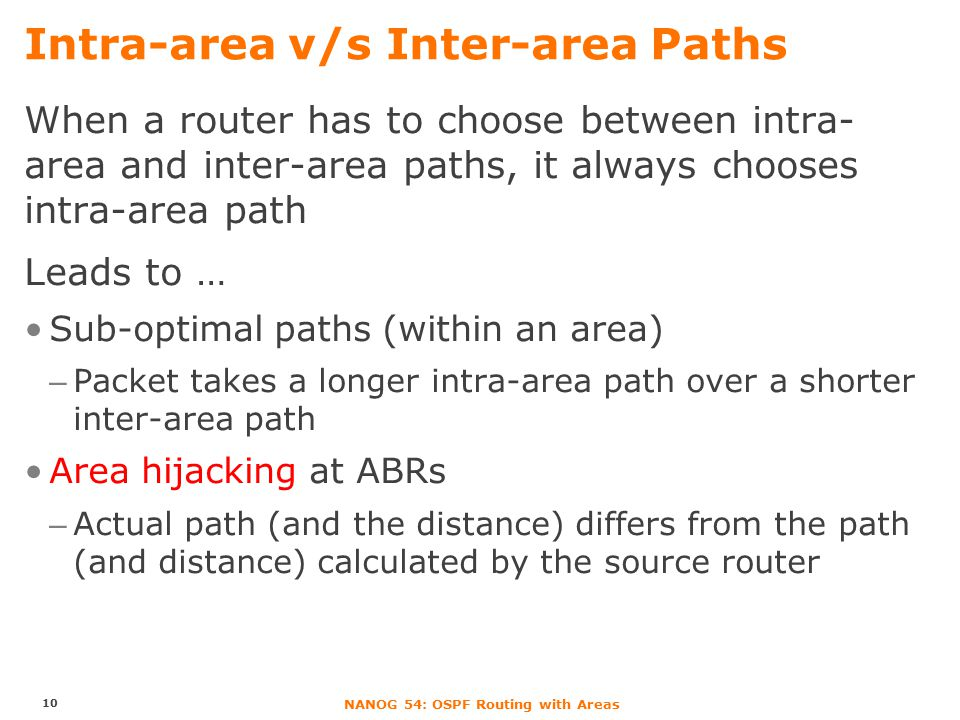 NANOG 54: OSPF Routing with Areas Intra-area v/s Inter-area Paths When a router has to choose between intra- area and inter-area paths, it always choo