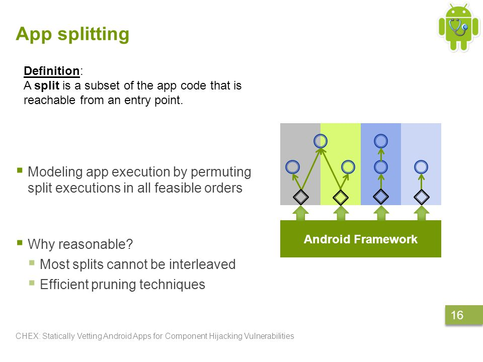 App splitting  Modeling app execution by permuting split executions in all feasible orders  Why reasonable.