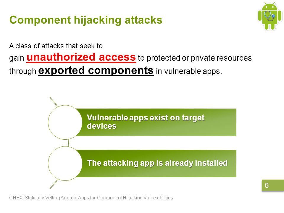 Component hijacking attacks CHEX: Statically Vetting Android Apps for Component Hijacking Vulnerabilities 6 6 A class of attacks that seek to gain unauthorized access to protected or private resources through exported components in vulnerable apps.