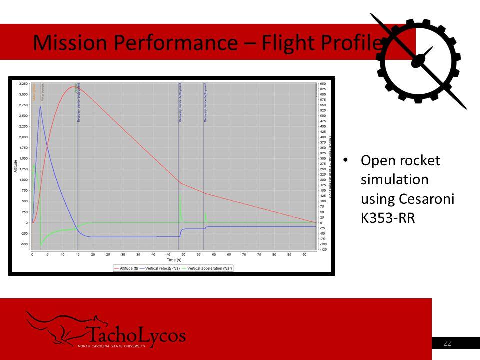 Open rocket simulation using Cesaroni K353-RR Mission Performance – Flight Profile 22