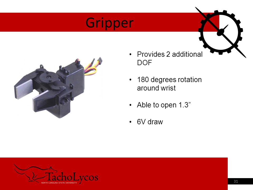 "Gripper 31 Provides 2 additional DOF 180 degrees rotation around wrist Able to open 1.3"" 6V draw"