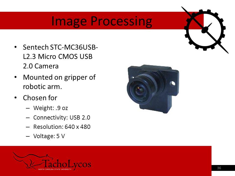Sentech STC-MC36USB- L2.3 Micro CMOS USB 2.0 Camera Mounted on gripper of robotic arm.