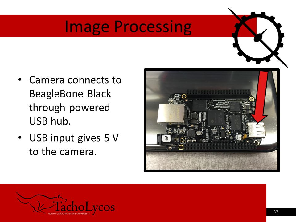 Camera connects to BeagleBone Black through powered USB hub. USB input gives 5 V to the camera. Image Processing 37