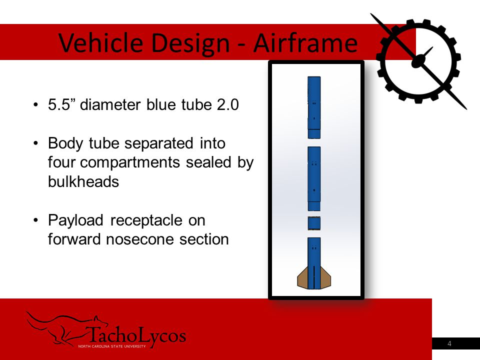 Vehicle Design - Airframe 4 5.5 diameter blue tube 2.0 Body tube separated into four compartments sealed by bulkheads Payload receptacle on forward nosecone section
