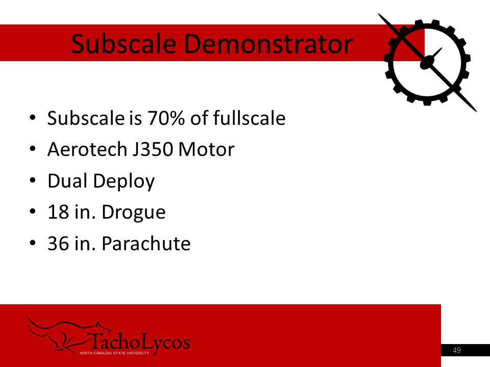 Subscale is 70% of fullscale Aerotech J350 Motor Dual Deploy 18 in.