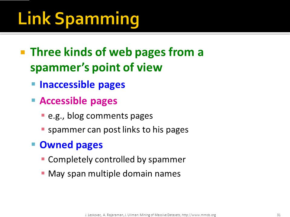  Spammer's goal:  Maximize the PageRank of target page t  Technique:  Get as many links from accessible pages as possible to target page t  Construct link farm to get PageRank multiplier effect 32J.
