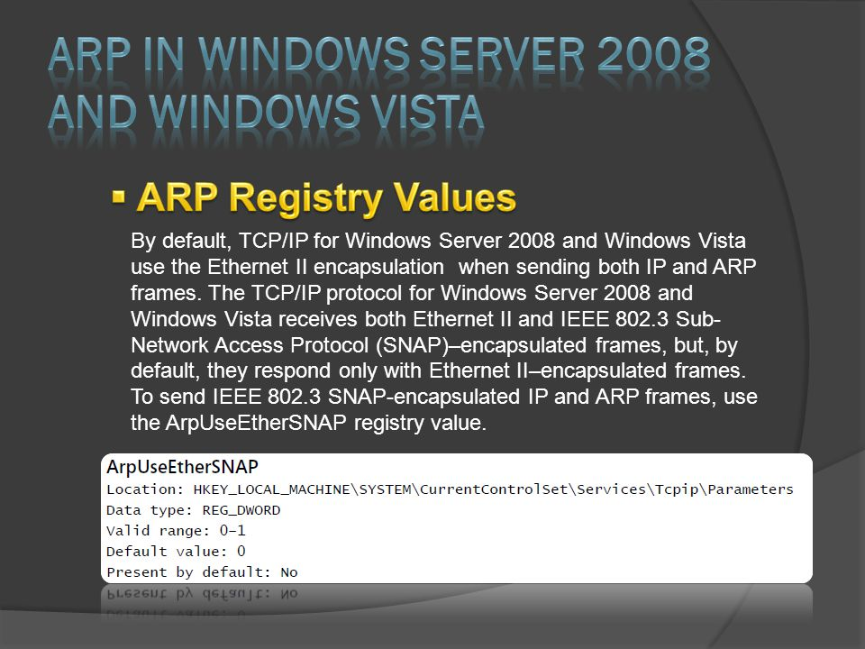 By default, TCP/IP for Windows Server 2008 and Windows Vista use the Ethernet II encapsulation when sending both IP and ARP frames. The TCP/IP protoco