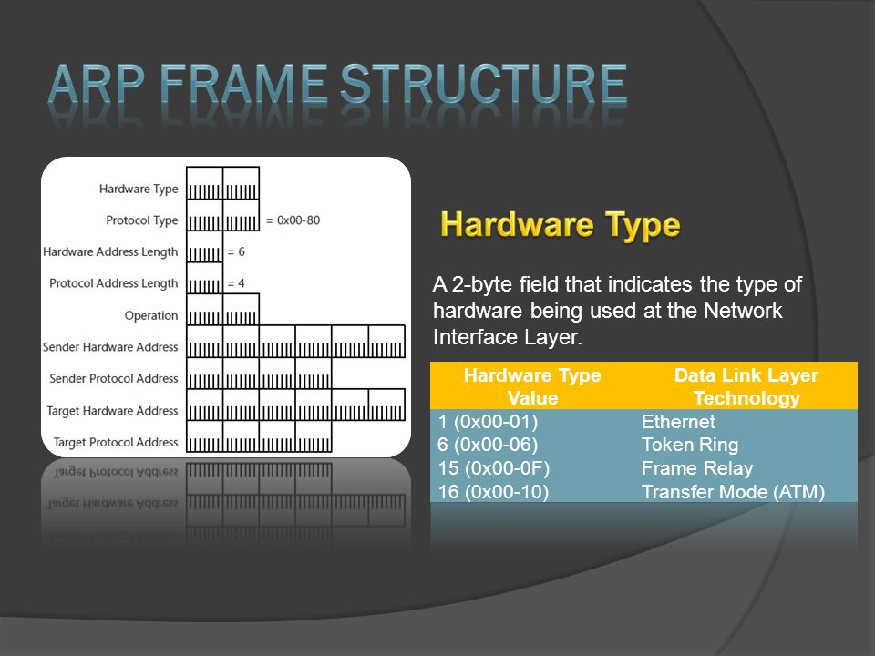 A 2-byte field that indicates the type of hardware being used at the Network Interface Layer.