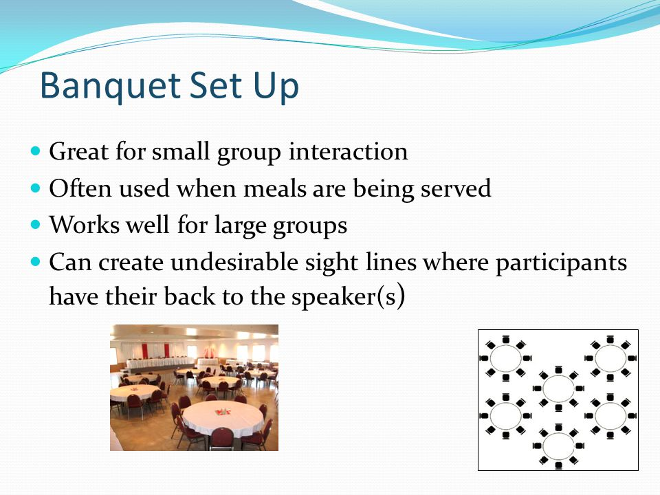 Banquet Set Up Great for small group interaction Often used when meals are being served Works well for large groups Can create undesirable sight lines where participants have their back to the speaker(s )