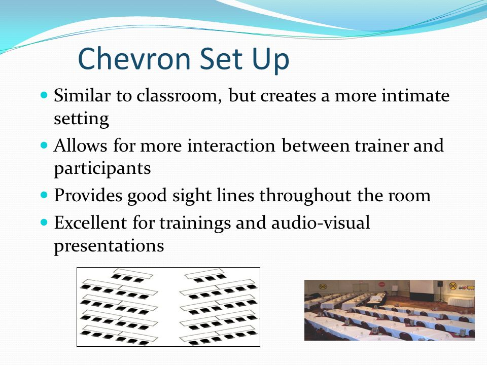 Chevron Set Up Similar to classroom, but creates a more intimate setting Allows for more interaction between trainer and participants Provides good sight lines throughout the room Excellent for trainings and audio-visual presentations