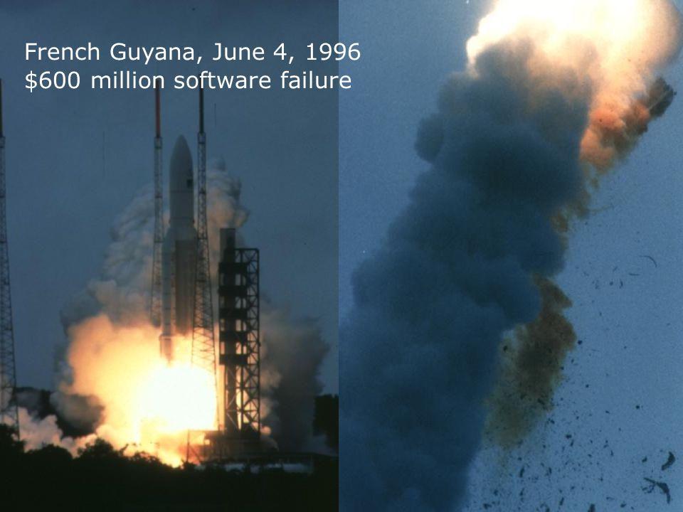 7 French Guyana, June 4, 1996 $600 million software failure