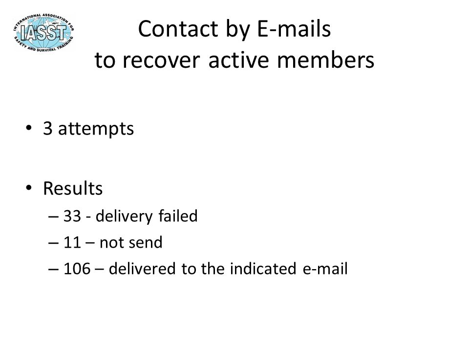 Contact by E-mails to recover active members 3 attempts Results – 33 - delivery failed – 11 – not send – 106 – delivered to the indicated e-mail