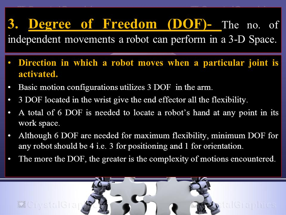 3. Degree of Freedom (DOF)- The no. of independent movements a robot can perform in a 3-D Space. Direction in which a robot moves when a particular jo