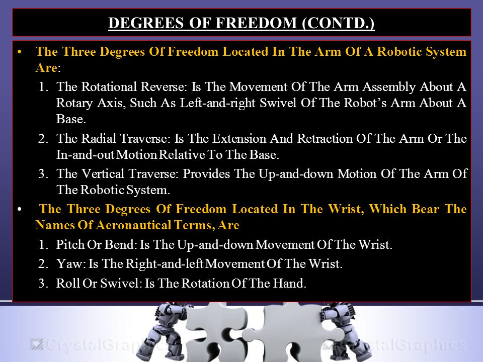 DEGREES OF FREEDOM (CONTD.) The Three Degrees Of Freedom Located In The Arm Of A Robotic System Are: 1.The Rotational Reverse: Is The Movement Of The Arm Assembly About A Rotary Axis, Such As Left-and-right Swivel Of The Robot's Arm About A Base.