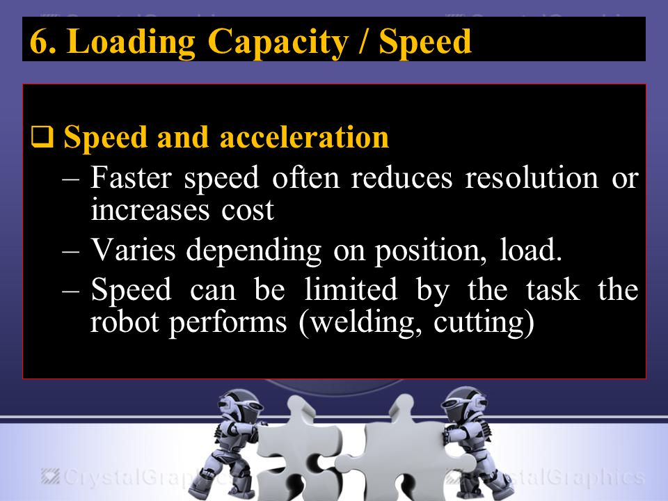 6. Loading Capacity / Speed  Speed and acceleration –Faster speed often reduces resolution or increases cost –Varies depending on position, load. –Sp
