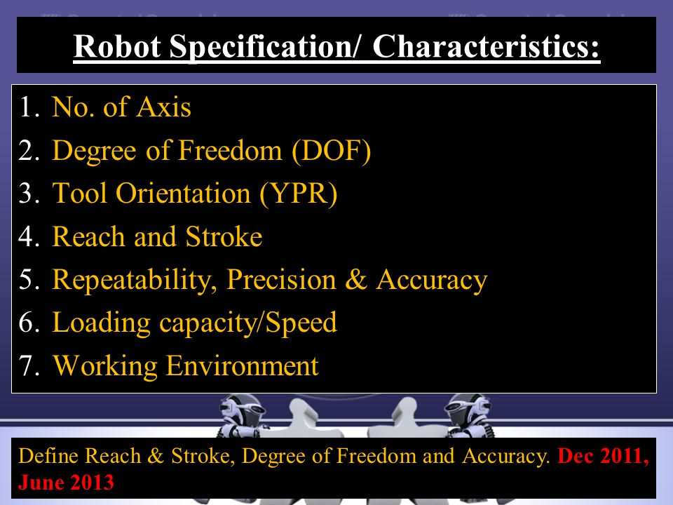 Robot Specification/ Characteristics: 1.No. of Axis 2.Degree of Freedom (DOF) 3.Tool Orientation (YPR) 4.Reach and Stroke 5.Repeatability, Precision &