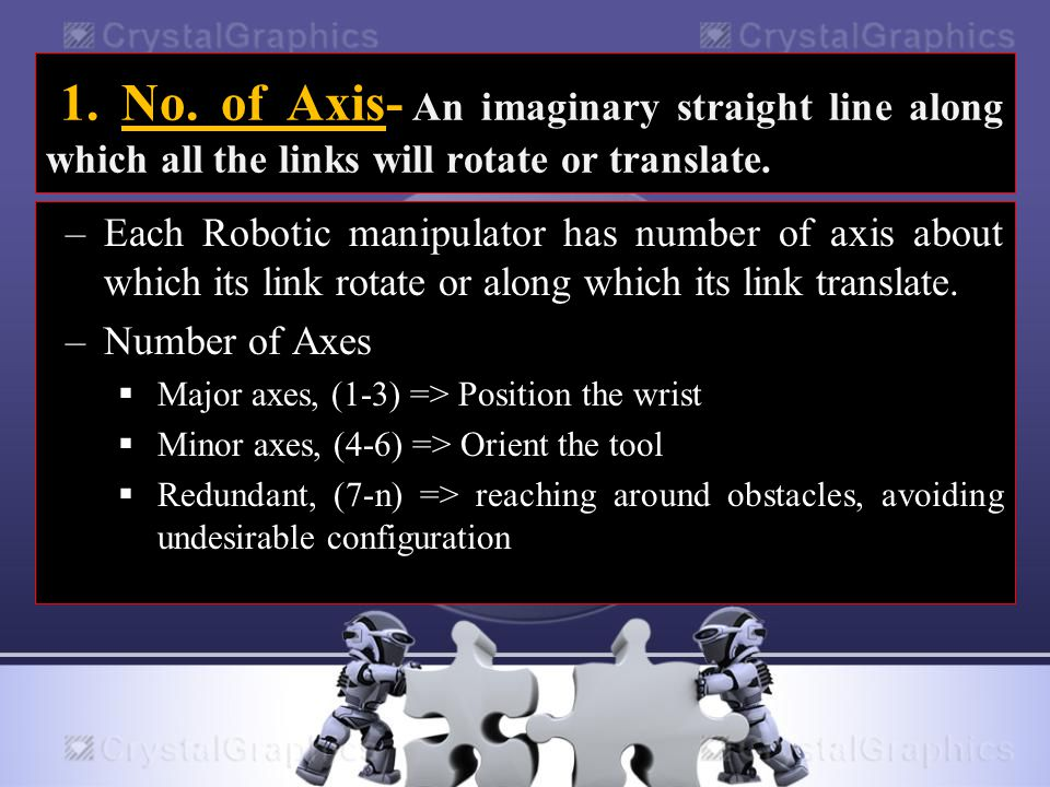 1. No. of Axis- An imaginary straight line along which all the links will rotate or translate.